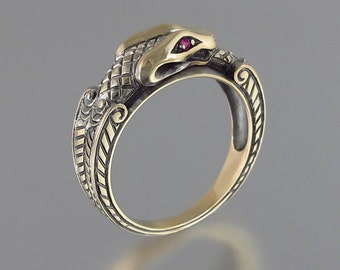 OUROBOROS 14K yellow gold mens Snake ring with Ruby eyes unisex band