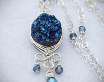 Blue Druzy Necklace, Goddess Collection, Wire Wrapped Pendant, Sterling Silver, Cable Chain, Druzy Quartz, Vintage Crystal, Free Shipping