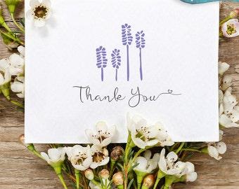 Wedding thank you card / Printable thank you card / purple lavender card / summer wedding / print at home wedding / calligraphy font