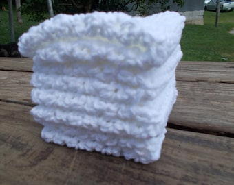 Crochet Dishcloth/ Washcloth - Handmade Wash Rag -Set of 4 Kitchen Dish Cloths-Extra LARGE SIZE-Pure White Color