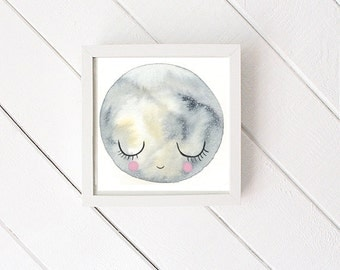 Moon Art Print - print of original watercolor - nursery art - wall decor