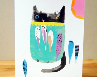 Cat Greeting Card - Digital Print - For Any Occassion