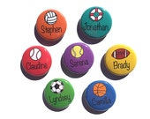 Personalized Sports Name Magnet OR Name Pin - 1 or 2 1/4 inch custom magnets, pinback buttons, pocket mirror, bookmark or keychain