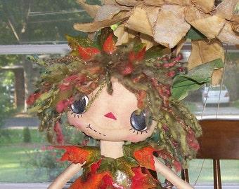 Woodland Sprite, Raggedy Ann Doll, Fall Leaves, Autumn Colors, Rag Doll, Fantasy Doll, Fairy Doll, Primitive Raggedy Ann Doll, Prim Annie
