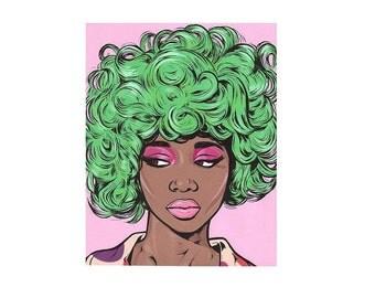 Green Kawaii Comic Girl Print