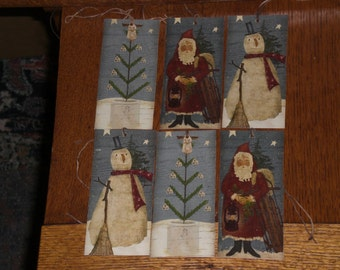 6 Primitive Folk Art Santa Claus Snowman Angel Christmas Holiday Hang Tags Gift Ties Vendor Tags Ornies Decoration
