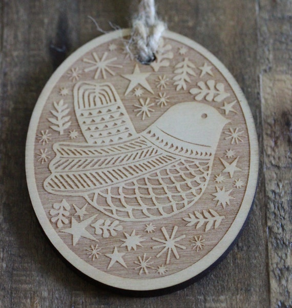 oval holiday bird ornament