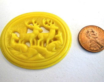 Vintage glass cabochon plaque deer forest carved molded yellow  Czech  flatback LARGE 2 inches