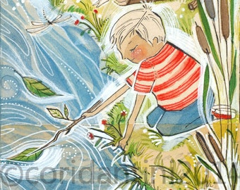 """Cori Dantini Boys Art Print - """"8 x 10"""" little dude playing in the river Art Print -  Boys Room Decorating Ideas Archival and Limited edition"""