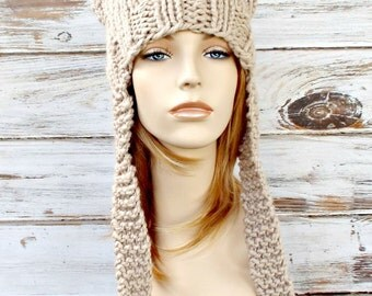 Womens Hat - Ear Flap Cat Hat Linen Cream Knit Hat - Linen Cream Hat Cream Beanie Cream Ear Flap Hat Womens Accessories