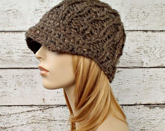 Brown Womens Hat Brown Newsboy Hat - Amsterdam Beanie with Visor Barley Brown Knit Hat - Womens Accessories Winter Hat - READY TO SHIP