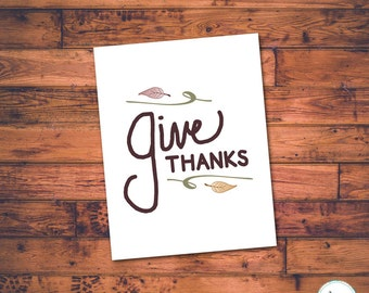 Give Thanks, Card, Printable, Thanksgiving Cards, Harvest, Greetings, Thanksgiving, Fall, Autumn, Greeting Cards, Instant Download