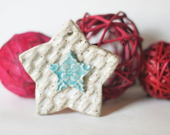 One Clay Star Ornament, Christmas Ornament, Blue and White