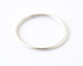 Sterling silver thin stacking ring - plain round band - delicate silver ring - dainty simple ring - low profile - minimalist jewelry/Ina 1mm