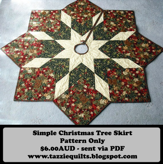 Christmas Tree Skirt Knitting Pattern : Quilted Christmas Tree Skirt Pattern by TazzieQuilts on Etsy