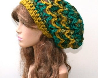 Thick Slouchy beanie hat, BoHo Chunky Hippie Hat, green mustard bohemian beanie, woman beanie, dread tam hat, open weave slouch hat, hipster