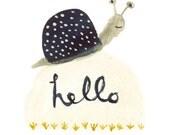 Hello Snail - art print