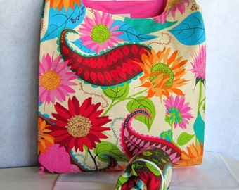 bright floral paisley eco market bag