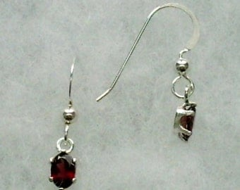 6x4mm Red Garnet Gemstones in Argentium Silver Earwire Dangles January Birthstone