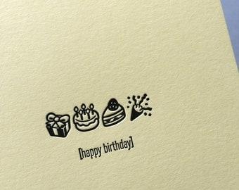 Emojicards: Happy Birthday, single letterpress card