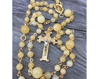 Aragonite 5-decade Catholic Rosary