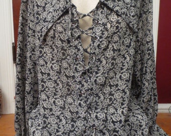 Vintage Black Rose Print Blouse Top Renaissance Pirate Wench