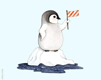 Penguin painting, Penguin illustration, Watercolor penguin, Penguin print, animal alphabet print, P is for Penguin,  South Pole animal,