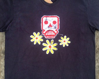Skull & Flowers t shirt Mens clothing top batik organic bio cotton t shirt festival t shirt vintage black hand drawn hand painted hand dyed