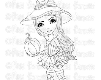 Digital Stamp - Printable Coloring Page - Fantasy Art - Witch Stamp - Adult Coloring Page - Brittany - by Nikki Burnette - PERSONAL USE