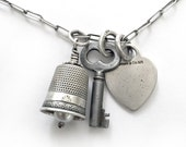 Antique Sterling Thimble Bell Pearl Key Tiffany Heart Tag Charm Necklace on Sterling Oblong Cable Chain