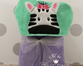 Baby or Toddler Hooded Towel - Girly Zebra Hooded Towel - Cute Girl Zebra Hooded Towel - Zebra Towel for Bath, Beach, or Swimming Pool