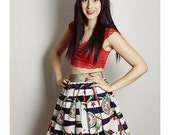 SAILOR Skirt, Gold Nautical Skirt, Handmade Anchor Skirt, Upcycled skirt, Rockabilly Clothing, DIY Skirt, Sailor skirt