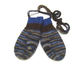 Knitted wool mittens string toddler boy 3 to 4 blue brown felted boiled wool
