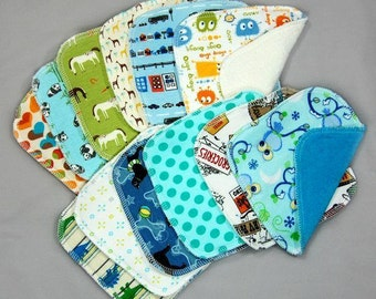 Cloth Diaper Wipes - Cloth Baby Washcloths Wipes - Family Cloth - One Dozen, Assorted - Variety - Set of 12 Wash Cloths Baby Wipes