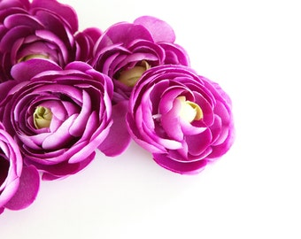 6 Small Ranunculus in Magenta Plum - 3 inches -artificial flower - Silk Artificial Flowers