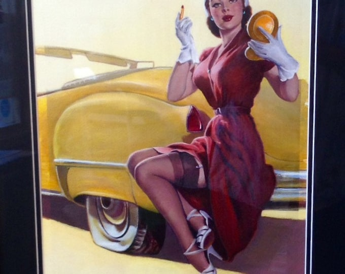 Featured listing image: HUGE Estate Sale! Elvgren -ROADSIDE HELP Original Painting 16X20 Rare 1998 Pinup Vancas of Cadillac Up Skirt Pin-Up Exposes Nylons Stockings