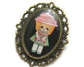 """Handmade and Illustrated Brooch - """"Pinky Frostina"""" Cupcake Girl - Black or Blue"""