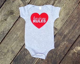 Kindness Rules One Piece Romper in Heather Grey with Red print - Newborn, Baby Shower Gift - Script Text with Heart