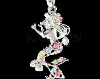 Swarovski Crystal Rainbow Sea Nymph Little Mermaid Ocean Princess Fish Marine Beach Wedding Bridesmaid Necklace Jewelry Christmas Gift new