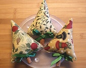 Gold  Christmas Tree Bowl Filler Ornament Decorations Set of Three
