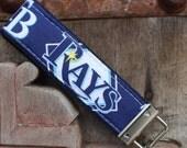READY TO SHIP-Beautiful Key Fob/Keychain/Wristlet-Tampa Bay Rays-on Blue