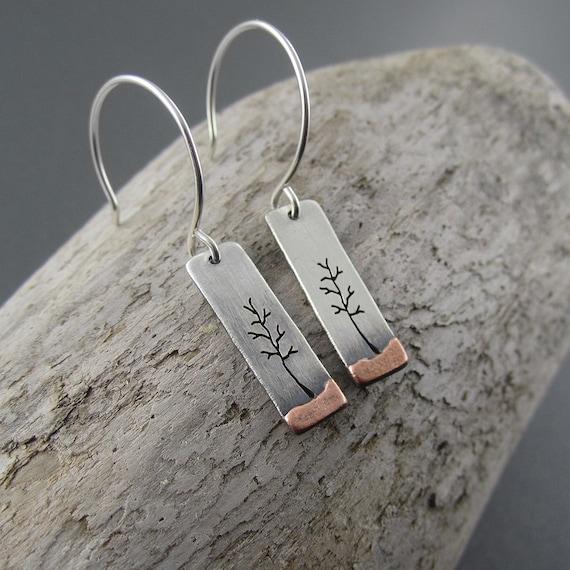 Little Long Copper Landscape Handmade Earrings