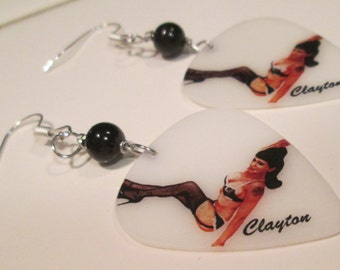 Pierced Earrings Pin Up Girl Earrings Retro Girl Pin Up Girl guitar pick pierced dangle hand made wire wrapped earrings by Ziporgiabella