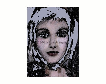 Snow Girl Portrait Giclee Print  Fine Art Impressionistic Digital Enhancement Gallery Quality Limited Edition FREE US Shipping and Insurance