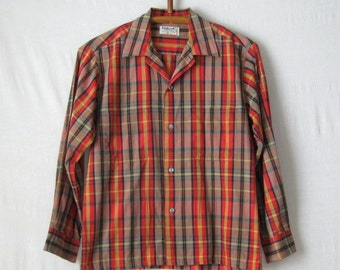 Plaid Shirt Mens Shirt 1960s Long Sleeve Button Down Shirt Size M