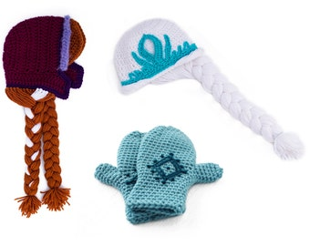 PDF Crochet Pattern Bundle for Snowflake Diamond Mittens, Purple Bonnet, and Crowned Hat - Permission To Sell Finished Items
