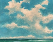 Original Landscape Painting on Canvas 8x8 Clouds Ocean Breeze Scandinavian Sky Low Horizon