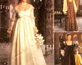 Renaissance Wedding dress Brides gown gauntlets veil cap costume sewing pattern Simplicity 8735 or 0657  Sz 10 to 14