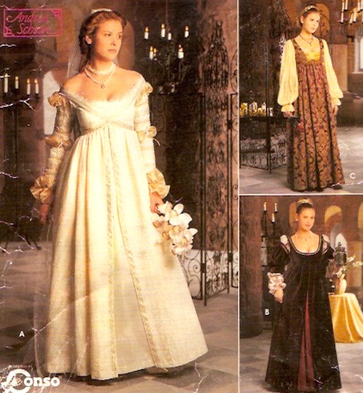 Renaissance Wedding Dress Costume History Mccall S By Heychica: Renaissance Wedding Dress Brides Gown Gauntlets Veil Cap