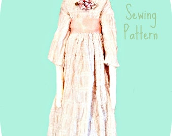 18 century historical style doll and Regency costume pdf downloadable pattern by Verity Hope